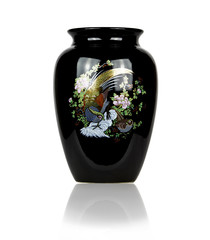 Black porcelain vase,Isolated