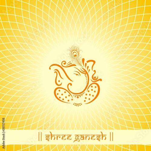 Ganesh Traditional Hindu Wedding Card Design India Stock Image