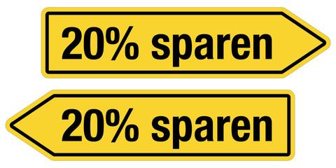 2 Pfeilschilder gelb 20% SPAREN
