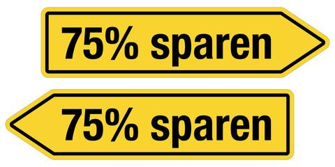 2 Pfeilschilder gelb 75% SPAREN
