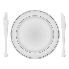 plate and dishes against white