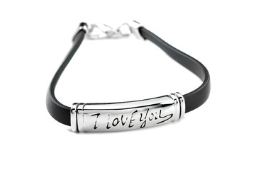 Wall Mural - Black bracelet with metal element and inscription I love you