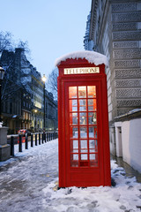 Fotorolgordijn Rood, zwart, wit London Telephone Booth
