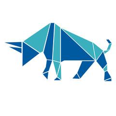 Canvas Prints Geometric animals Bull in origami style logo