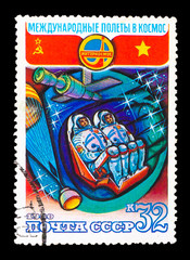 USSR - CIRCA 1980: a stamp printed by USSR, International space