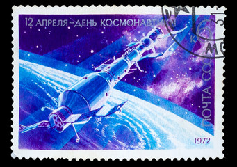 USSR - CIRCA 1972: A stamp printed in USSR, docked Soyuz spacecr
