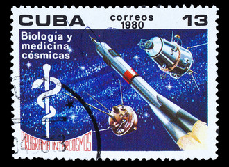 CUBA - CIRCA 1980: A stamp printed in CUBA; Intercosmos program;