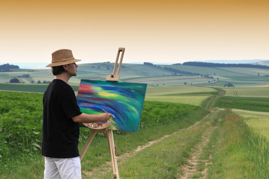 Maler mit Feldstaffelei