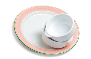 Stack of empty bowls on a plate
