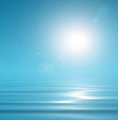 Magical blue background sky and peacefull water