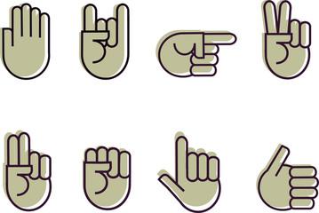 set of grey hand signes, illustration
