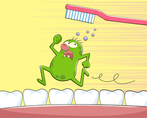 germ running away from a tooth brush