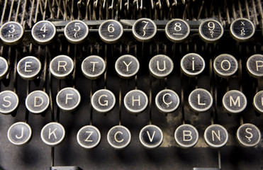 Old and dusty typewriter keys