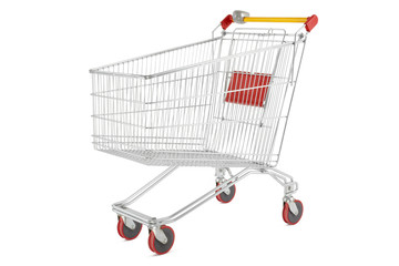 Shopping cart on white, outline clipping path included
