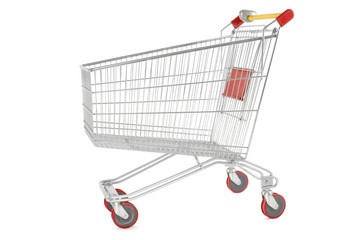 Shopping cart on white, clipping path included