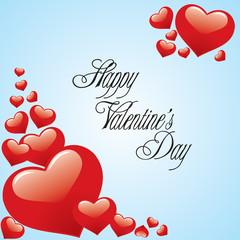 Fototapeta Valentine's Day card - red hearts on blue background obraz
