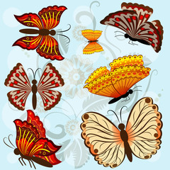 Set of autumn colored vector butterflies.