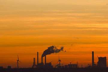 Industrial scenery at sunset, Rotterdam, The Netherlands