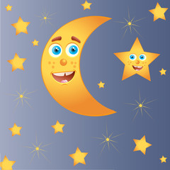 Happy moon with star