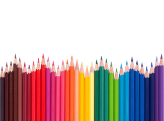 color pencils with different color over white background