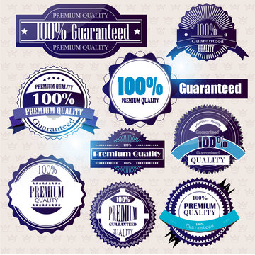 Set of Superior Quality and Satisfaction Guarantee Badges, Label