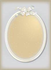 cadre photo médaillon blanc sur fond gris