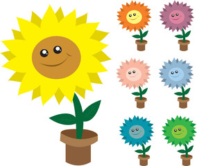 Isolated smiling potted flowers.  Various colors.