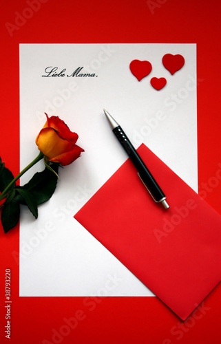 Liebesbrief Mit Rose Valentinstag Stock Photo And Royalty Free