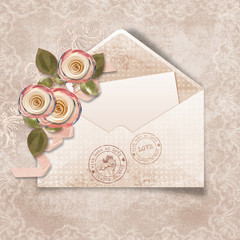 Beautiful  vintage  background with envelope for congratulations
