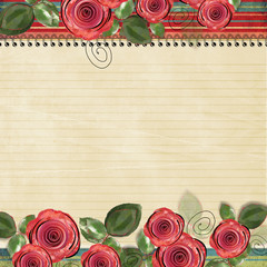 retro background with beautiful roses for congratulations and in
