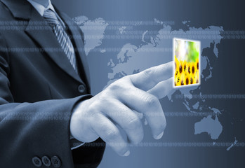 businessman hand pushing a button streaming images