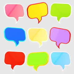 Set of nine text speech bubbles isolated