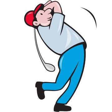 Cartoon Golfer Golfing Swinging Golf Club