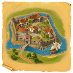 Old castle map illustration