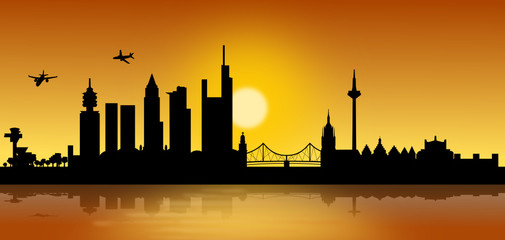 Frankfurt Skyline Sonnenaufgang