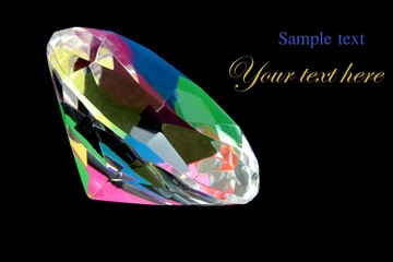 Colorful diamond on a black background