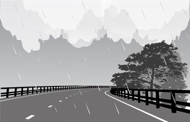 grey empty street under rain