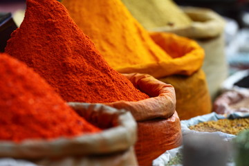 Photo sur Plexiglas Maroc Traditional spices market in India.