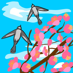Wall Murals Birds, bees sakura