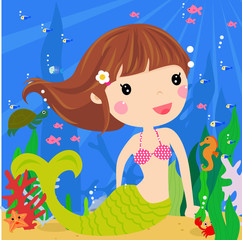 Aluminium Prints Submarine Cute mermaid