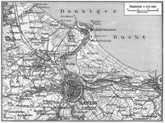 Map of Danzig city  and surroundings in  early 20th century