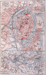 Vintage map of Lubeck from the end of 19th century