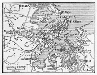 Vintage map of Valletta Capital of Malta