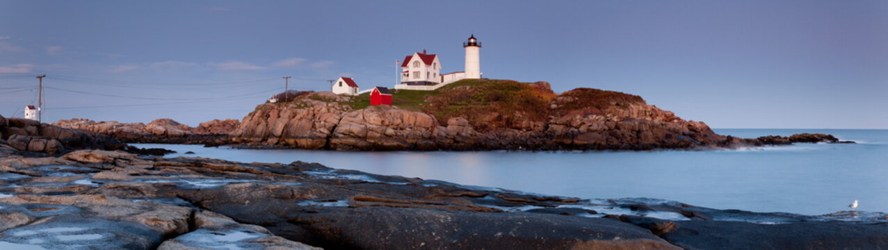 Nubble Lighthouse at sunset, Cape Neddick, Maine, USA