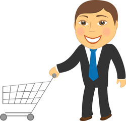 cartoon isolated man with shopping cart