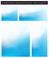 Abstract cool blue background set with dots and text space