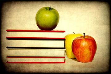 Mele e libri dall'atmosfera retro