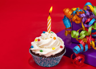 Birthday Cupcake on red