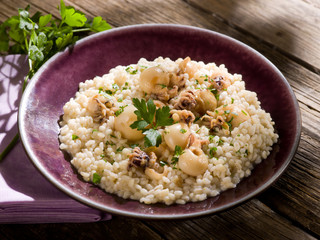 barley risotto with small sepias
