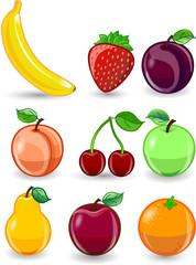 Мультфильм апельсин, банан, яблоко,  груша, персик, слива